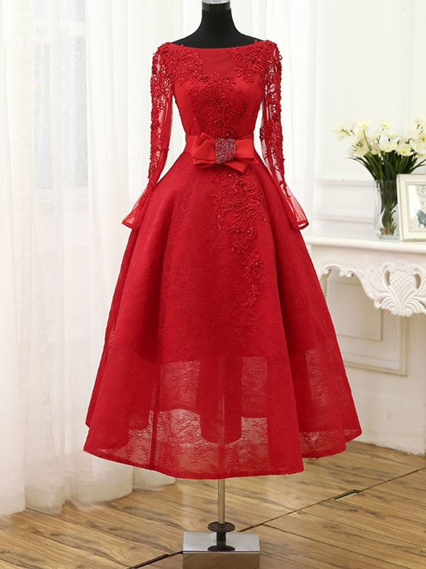 Stylish Applique Beading Bowknot Long Sleeeves Boat Neck A-line Tea Length Cocktail Dress