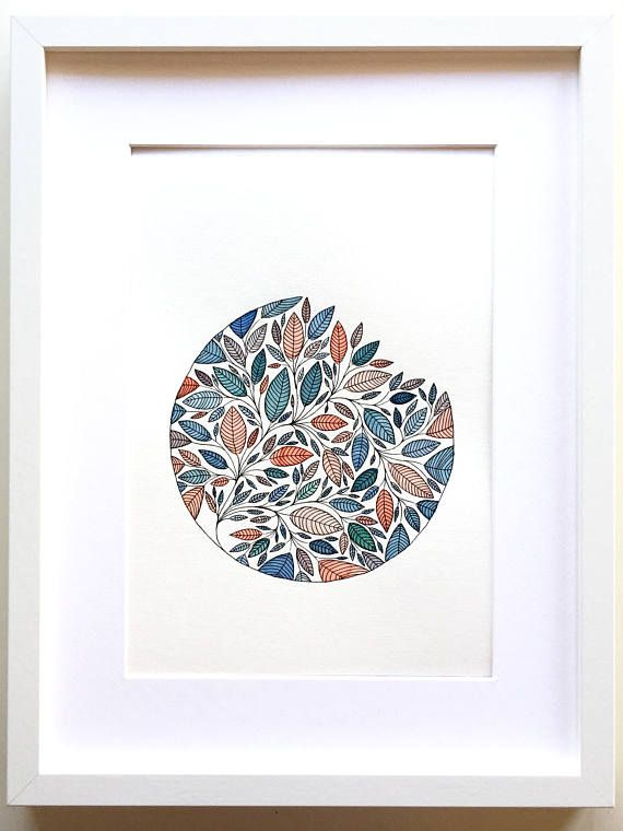 Original Aquarell Watercolor Art Floral Leaf Illustration With