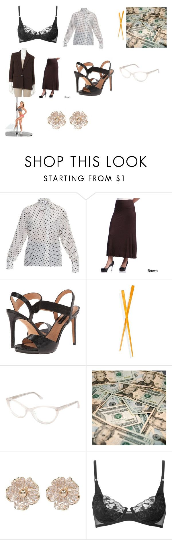 """""""Laura Prepon's career woman stripper outfit in a fantasy sequence from Season 3 of """"That '70s Show"""" (""""Baby Fever"""")"""" by terrence-michael-clay on Polyvore featuring Bottega Veneta, 24/7 Comfort Apparel, Steven, France Luxe, Cynthia Rowley, River Island, La Perla and Sag Harbor"""