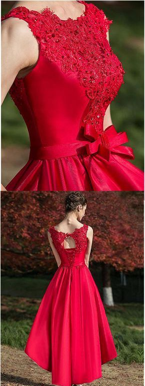 Romantic Tulle & Satin Bateau Neckline Hi-lo A-line Homecoming Dresses With Beaded Lace Appliques