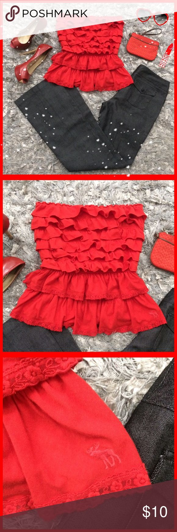 A&F ruffle tube top Beautiful A&F red tube top with lots of ruffle layers. Size M.  ✨Bundle and save✨ Abercrombie & Fitch Tops