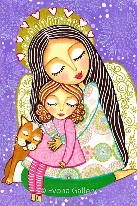 Folk Art Painting Protector of Dreams Angel Print by Evonagallery Para Mi Bebè, Te Amo Hija Mìa!