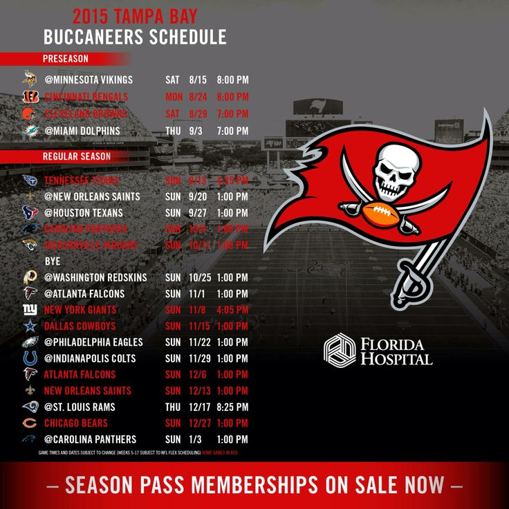 2015 Bucs Schedule!! Looking forward to new season!