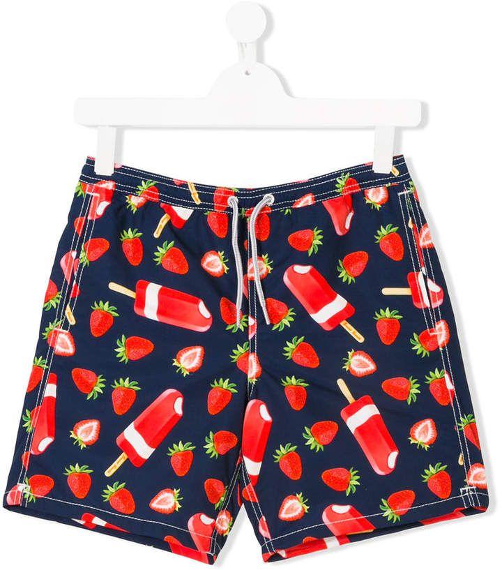 86097894be Mc2 Saint Barth Kids TEEN strawberry print swim shorts #Saint#Barth #featuring