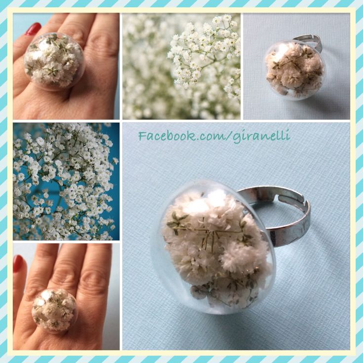 Handmade, blown glass ring with baby's breath  Giranelli.hu