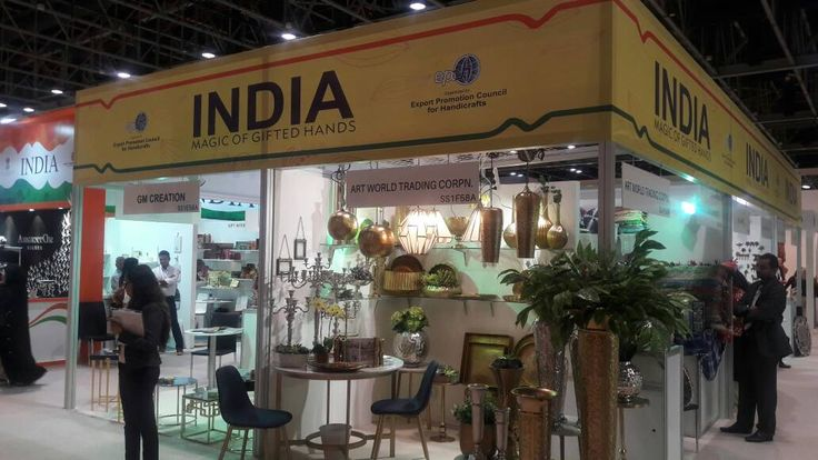 A booth of Indian participants in EPCH's India Pavilion at The Index International Design Exhibition, 2017. #EPCHIndia #IIDE17 — at Dubai World Trade Centre.