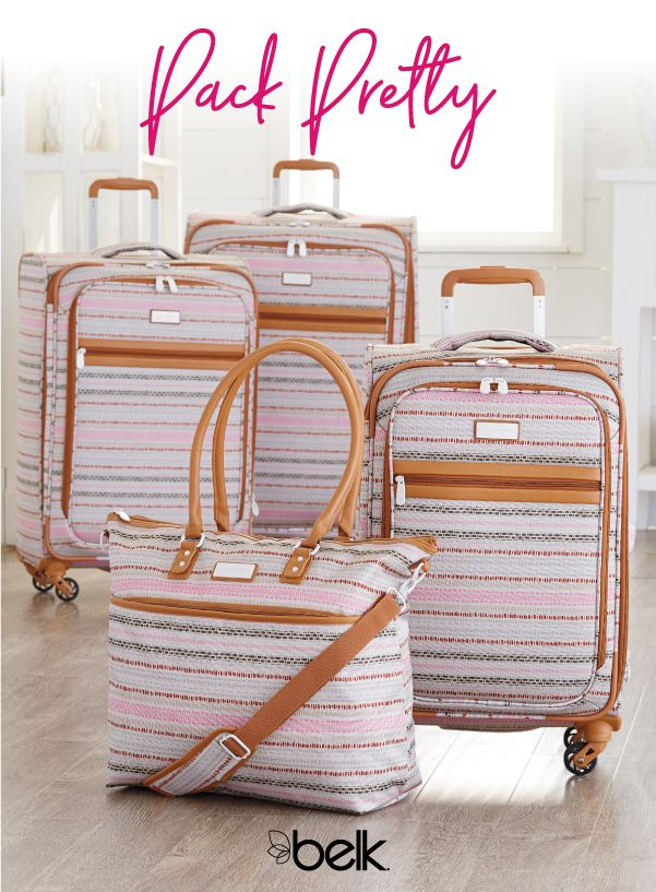 Make a stylish getaway with lightweight suitcases from the Jessica Simpson luggage collection. Whether you need a compact duffle bag for a short weekend away or a carry-on and large suitcase for a two-week European trip, this collection is filled with cute luggage in fun prints and pretty colors. Shop luggage in store or online at Belk.com