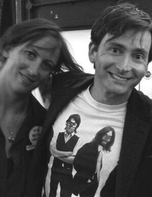 Two of my favorite people! Miranda Hart & David Tennant - wearing a Beatles shirt ♥️