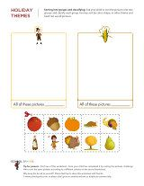 Sorting and classifying activity for young kids, with cute Thanksgiving-themed pictures.