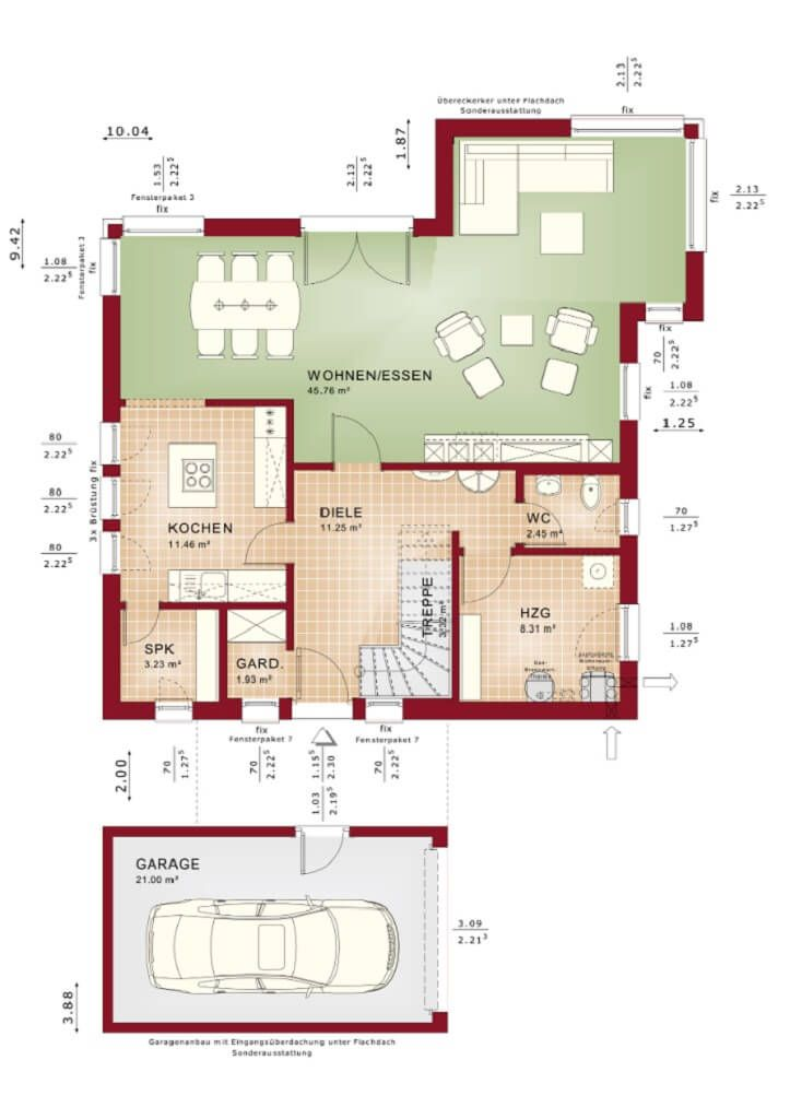 Grundriss Einfamilienhaus mit Garage Erdgeschoss Haus