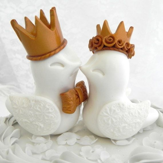 Royal Love Birds Wedding Cake Topper -White with Gold Crowns- Bride and Groom Keepsake - Fully Customizable will do any color bird, crown etc $77