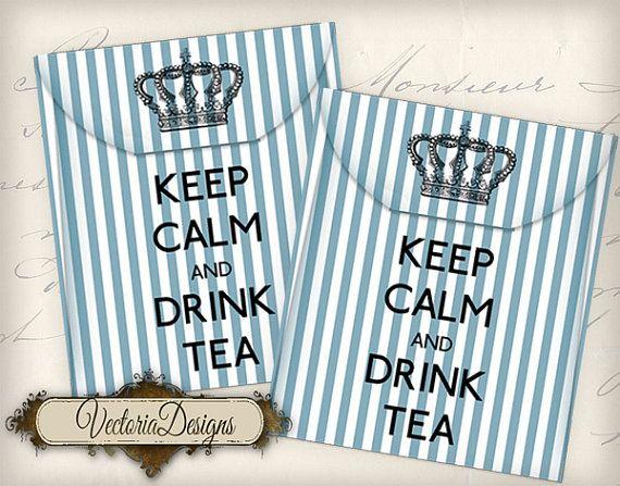 Tea Bag Envelope Keep Calm and Drink Tea by VectoriaDesigns, etsy