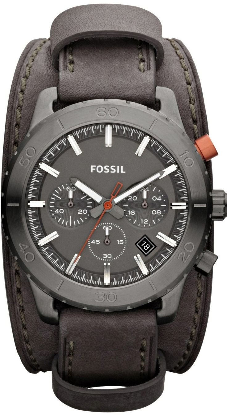 FOSSIL Keaton Chronograph Leather Watch Grey JR1418 < $99.89 > Fossil Watch Men