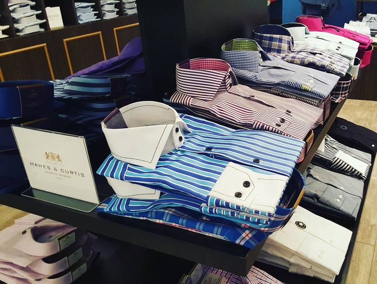 Hawes&Curtis Men's shirts in bright summer colors with distinct patterns available at Jermyn Street 1664. #Jermynstreet1664 #HawesAndCurtis #MensShirts #YYCFashion #YYCStyle #TheCoreShopping #CalgaryFashion