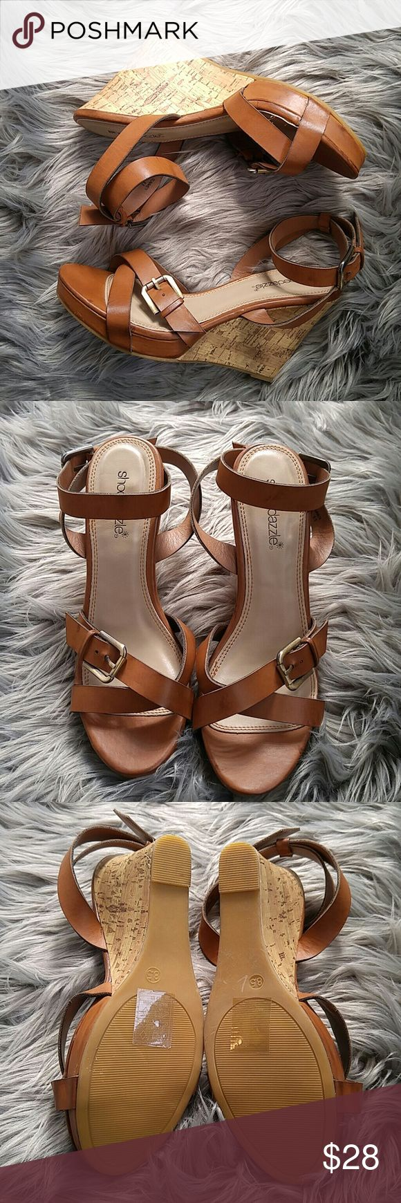 "Shoe Dazzle cork wedge sandals in camel Camel/cognac color. Beautiful. Never worn. ""Summer"". Shoe Dazzle Shoes Wedges"