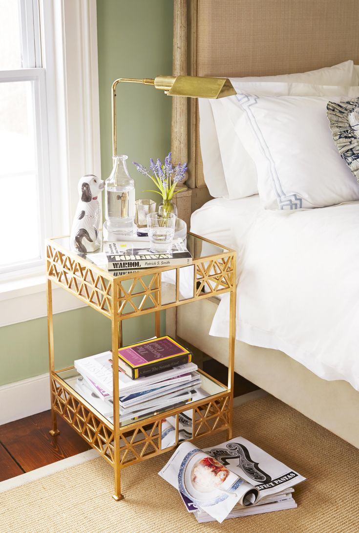 A bedside table is the perfect place for sentimental objects and your fave reading materials.