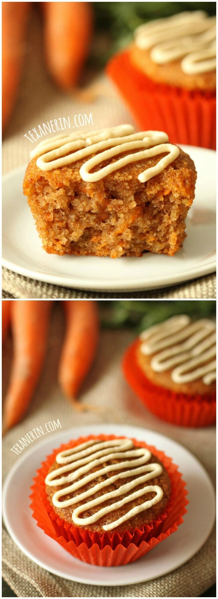 Moist, lightly sweetened with honey and even a little fluffy, these grain-free and gluten-free healthier carrot cake cupcakes (or muffins!) are the perfect Easter treat. With a dairy-free option.
