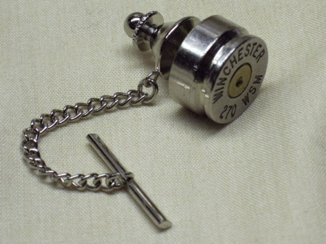 Bullet Tie Tack Clutch and Chain - 270 Winchester Short Magnum Nickel. $12.00, via Etsy.