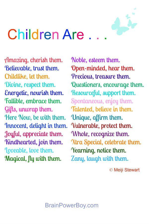 Children Are . . . Poem by Meiji Stewart plus article | BrainPowerBoy.com