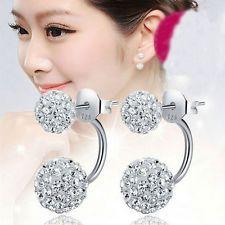 Women's Jewelry 925 Sterling Silver Double Bead Ball Crystal Ear Stud Earrings