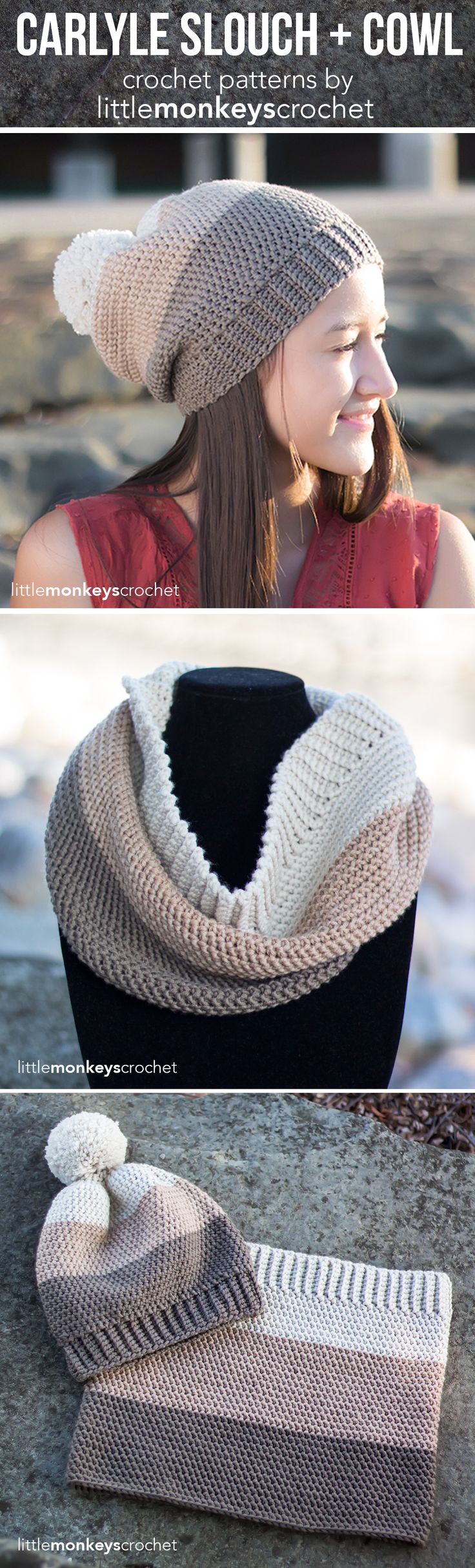 Carlyle Cowl + Slouch Hat Crochet Pattern Set | Free cowl scarf slouchy hat crochet patterns by Little Monkeys Crochet