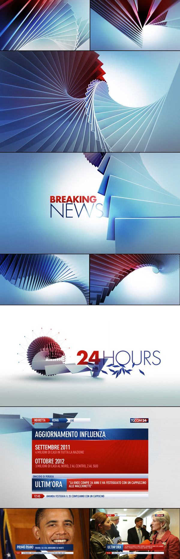 styleframes for motion graphic design. broadcast graphics package and branding. TgCom24 Channel Branding by Angelsign Studio , via Behance