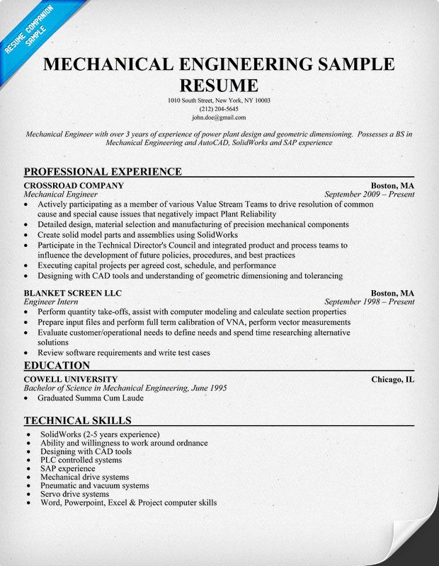mechanical engineering resume sample resumecompanioncom - Experienced Mechanical Engineer Sample Resume