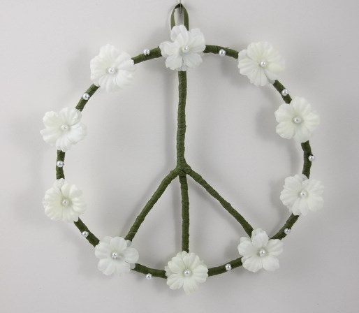 White Peace Sign Wreath Hippie Decor by PeacePetalsAndPearls, $29.95 An original design by Peace Petals and Pearls.