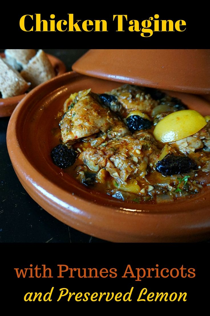 Chicken Tagine with Apricots, Prunes and Preserved Lemon. This complex slow cooked recipe has spicy kick from harissa (Moroccan chili sauce). Enjoy the exotic aroma as this traditional North African dish slowly simmers to perfection.