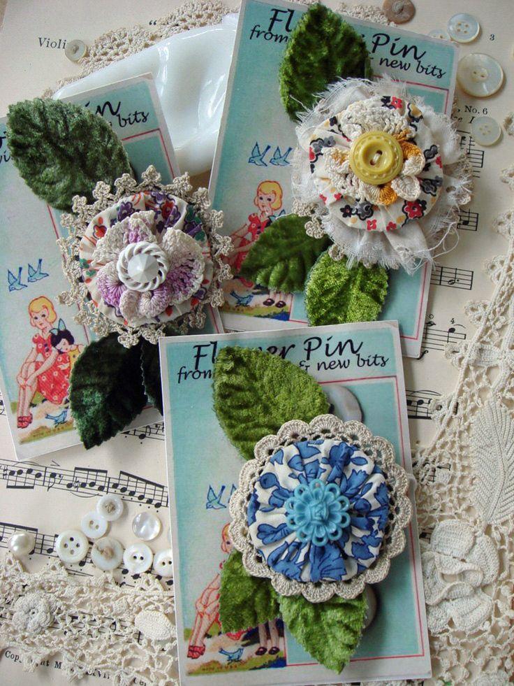 yo yo flower pin - for fashion or decor - you choose one - no 127, via Etsy.