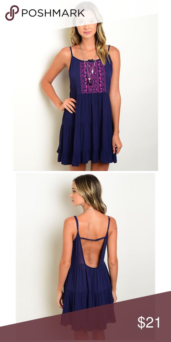 Open Back Navy Mini Dress w/ Magenta design flowy woven dress features spaghetti straps, round neckline and embroidered details Dresses Mini