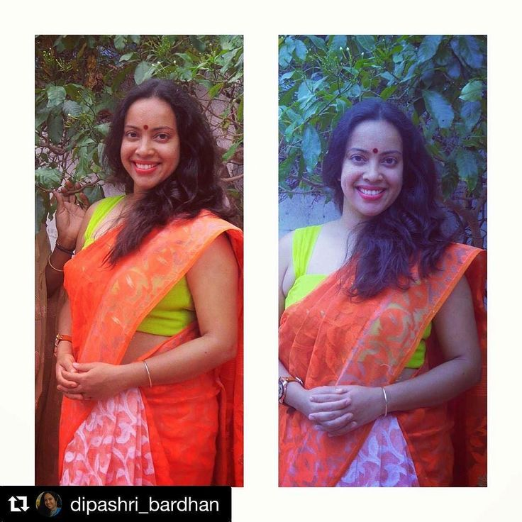 #customerlove - Sweet @dipashri_bardhan in her custom created @houseofblousedotcom limegreen spagetti blouse #sphagetti #blouse #houseofblousedotcom  #sareelove #orange #limegreen