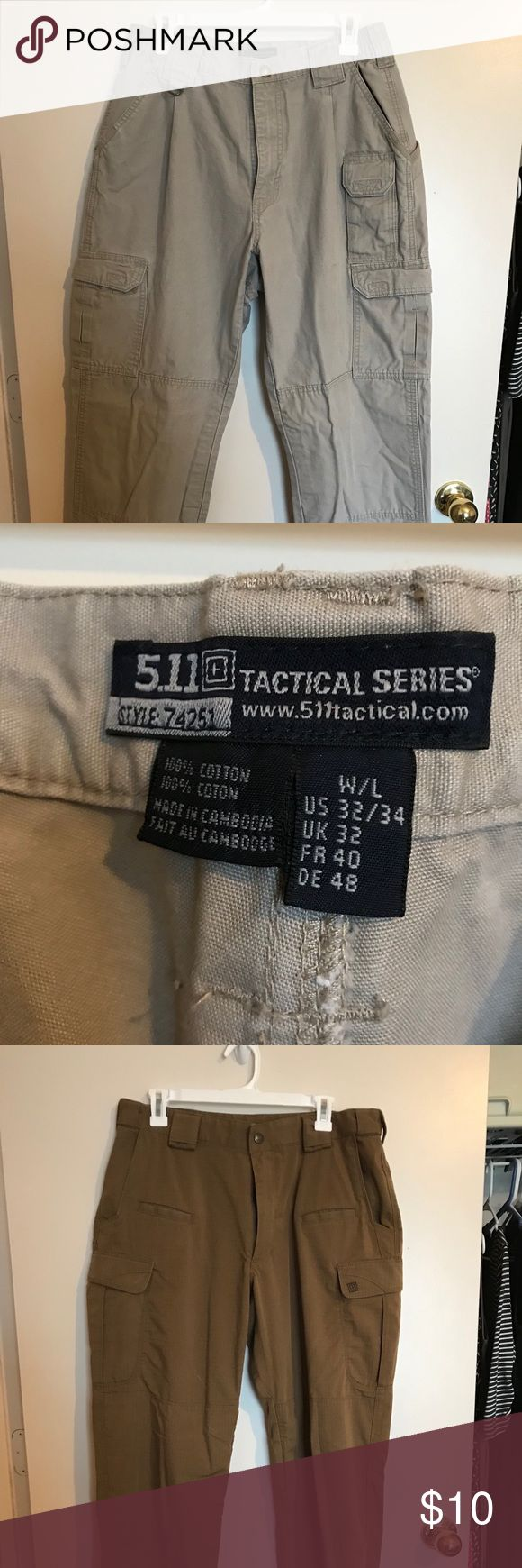 Men's 511 tactical cargo pants. Men's 511 tactical cargos. Various sizes. EUC. tan are 32/34, light brown are 34/32. Black are 34/34 511 Pants Cargo