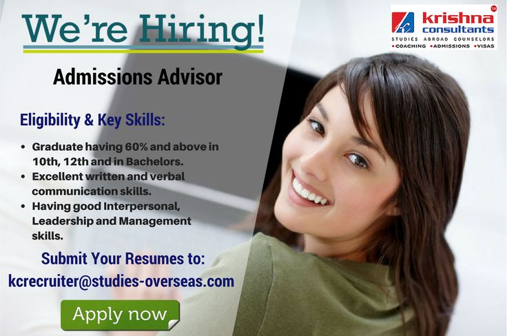 Urgent Openings for the post of Admission Advisor. Forward your CV at kcrecruiter@studies-overseas.com #jobopening #jobhuntchat