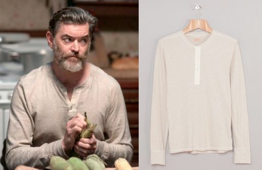 "Cain (Timothy Omundson) wears a Homespun Long Sleeve Coalminer Henley in the color Oatmeal in Supernatural Season 9 Episode 11 ""First Born."" #cain #supernatural #cw"