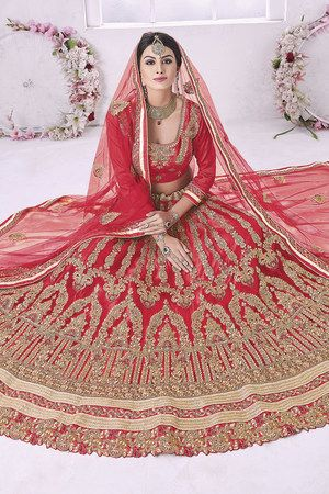 791561cd0 Craftsvilla Red Color Embroidered Net Lehenga Choli With Un-stitched Blouse