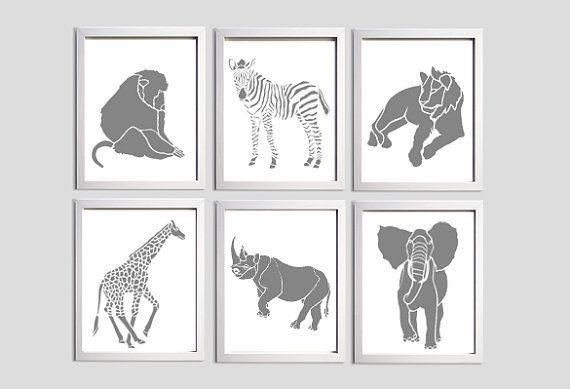 Pépinière Art Zoo Jungle Safari Elephant zèbre par ZeppiPrints