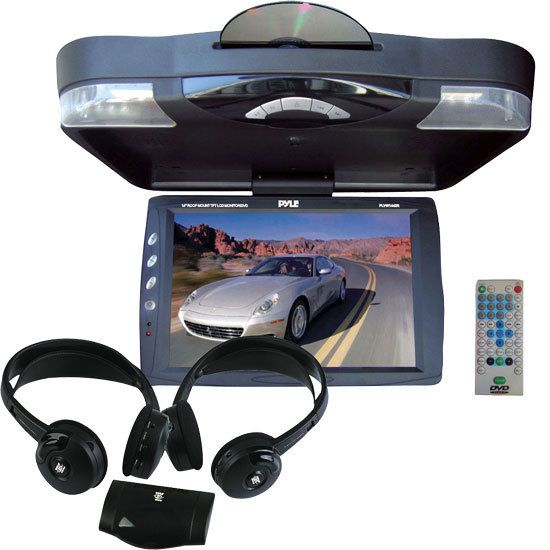 14.1'' Roof Mount TFT-LCD Monitor w/ Built in DVD Player + Dual Wireless IR Mobile Video Stereo Headphones w/Transmitter