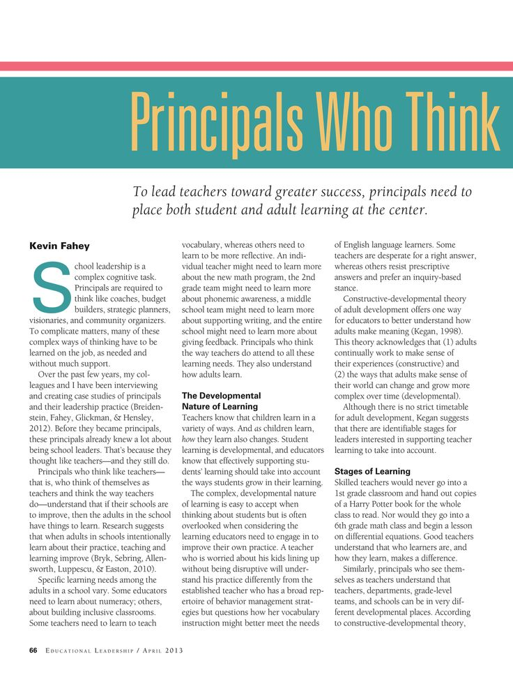 Principals who think like teachers: Educational Leadership - April 2013 - Page 66-67