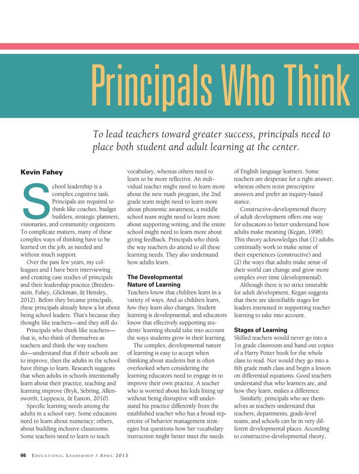 Principals who think like teachers: Educational Leadership - April 2013 - Page 66-67