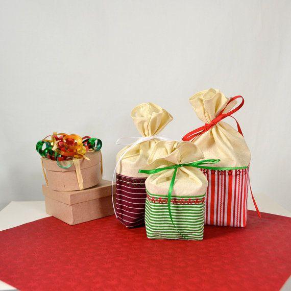 Christmas Gift Wrap Bags Part - 28: Reusable Gift Bag Fabric Gift Bag Christmas By TwiggyandOpalToo