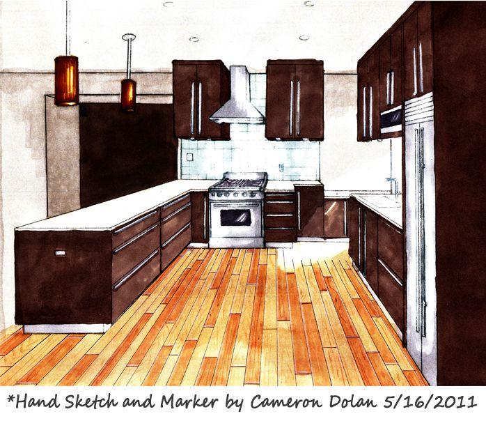 Kitchen Design Rendering: Interior Design Marker Rendering Techniques