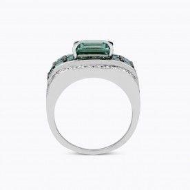 Sortija de oro blanco con turmalina verde central talla princesa con carré de turmalinas verdes y diamantes. - Géométrie - Colecciones