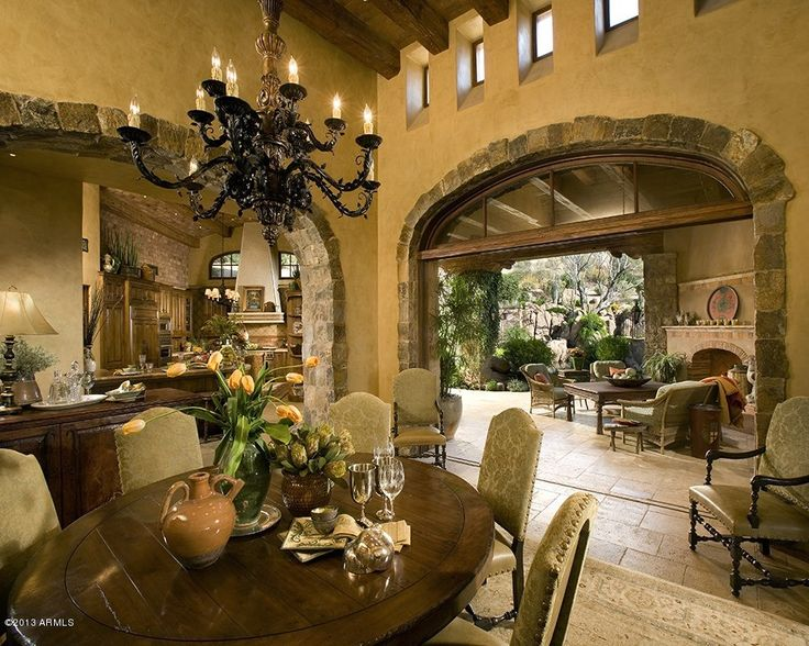 Spanish style interior love them stoned archway stone archways pinterest mansions - Spanish home interior design ideas ...