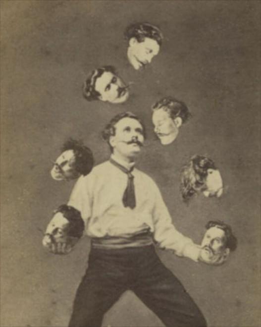 """Quando non c'era Photoshop: i fotomontaggi d'epoca - 1880, """"Un uomo gioca con la sua propria testa, anonimo, Metropolitan museum of art"""