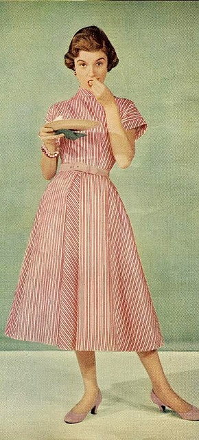 Red stripes From McCall's, December 1953. #vintage #1950s #fashion