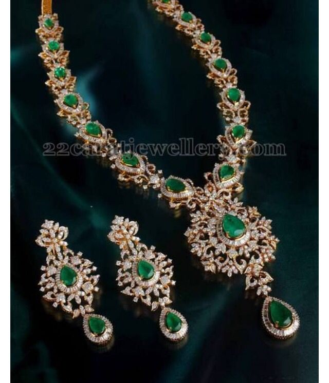 Diamonds and emeralds necklace and earrings