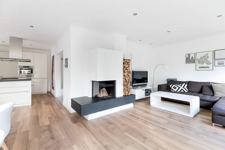 Wohnzimmer modern offen mit Kamin Wohnideen Interior