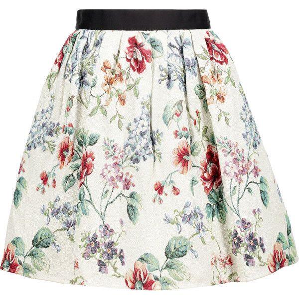 Raoul Metallic cotton-blend jacquard mini skirt (€155) ❤ liked on Polyvore featuring skirts, mini skirts, multi, white skirt, colorful skirts, short white skirt, raoul and metallic mini skirt