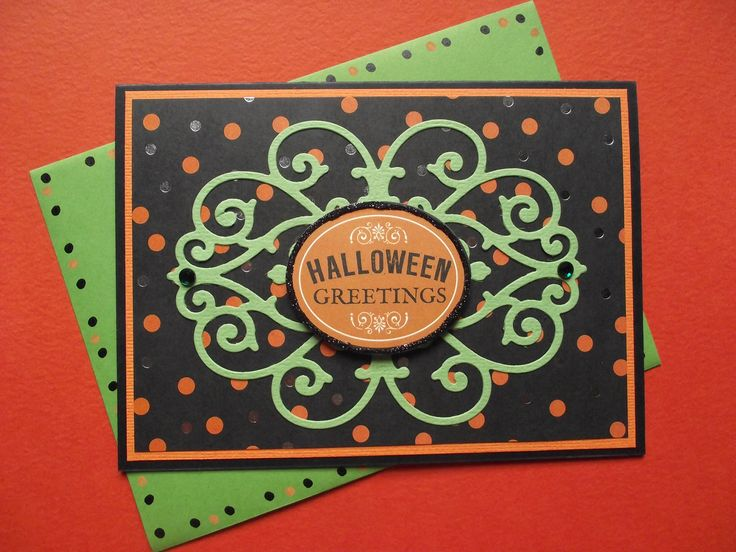 Halloween card and envelope.  Made using Bat-tastic kit and die cuts from Anna Griffin.